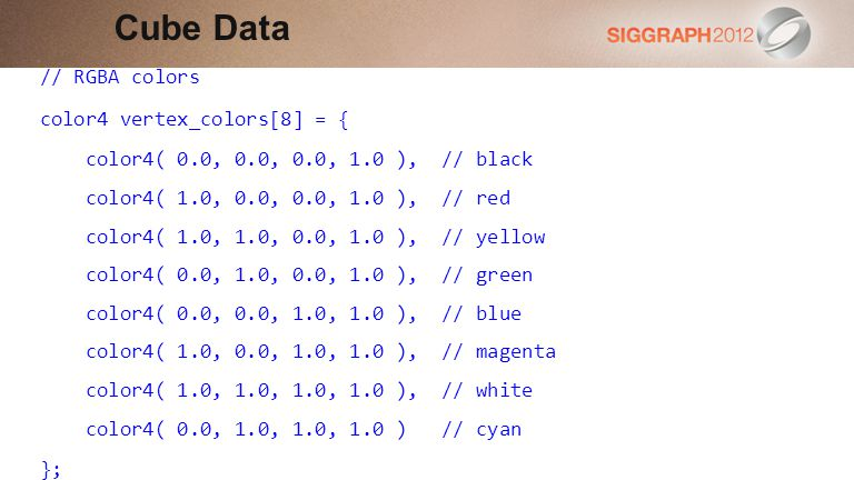 Cube Data // RGBA colors color4 vertex_colors[8] = {